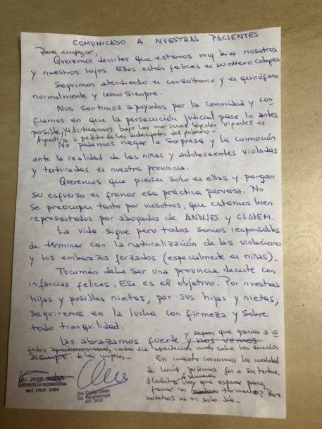 Cecilia Ousset y José Gijena son los médicos que le practicaron la cesárea a la nena de 11 años en Tucumán.