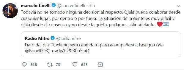 El tweet de Marcelo Tinelli después de la entrevista de Mauricio Macri.