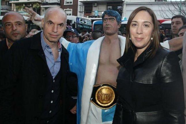 La estatua que colocaron el año pasado en Fantástico y luego en El Corralón. A Larreta y Vidal les gustaba.