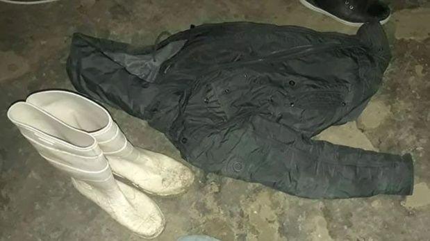 Las botas y la campera que se secuestraron durante el allanamiento a su casa.