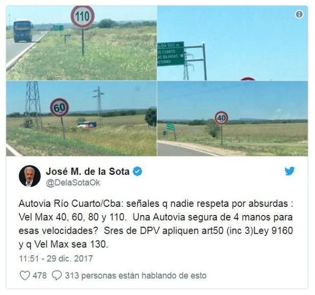 El tweet en el que De la Sota se quejaba de los límites de velocidad de la autovía 36.