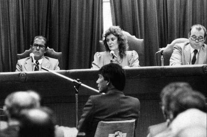 Carlos Monzón durante el juicio por el homicidio de Alicia Muniz.